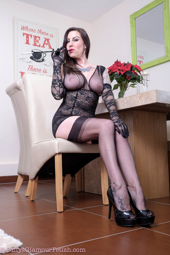 A smoking milf in lingerie from bubo