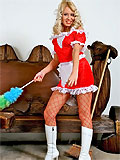 blonde maid in red uniform and fishnet