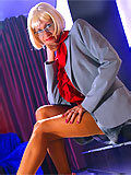 perfect leggy milf in business suit and tan stockings