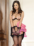 hot busty brunette in black nylon showing her pussy