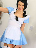 Stunning brunette Sophie looking wonderful in a sexy Alice outfit and white stockings.