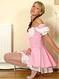 Beauty blonde Andrea in Dorothy costume with holdup stockings