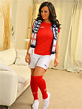 Sexy Lindsey Strutt slips out of her sporty football outfit