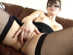 Hottest british wife in black fishnet stockings masturbate her pussy