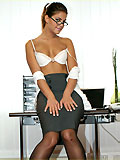 Hot office girl Defrancesca teasing in her sheer black nylons and naughty secretary outfit