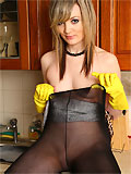 Faye plays in her rubber gloves and pantiehose